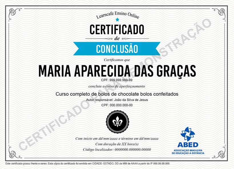 Imagem de exemplo do certificado